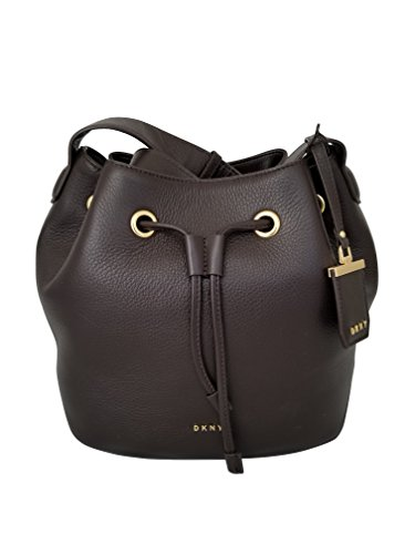 DKNY Donna Karan Leather Drawstring Shoulder Bag (Dark Brown)