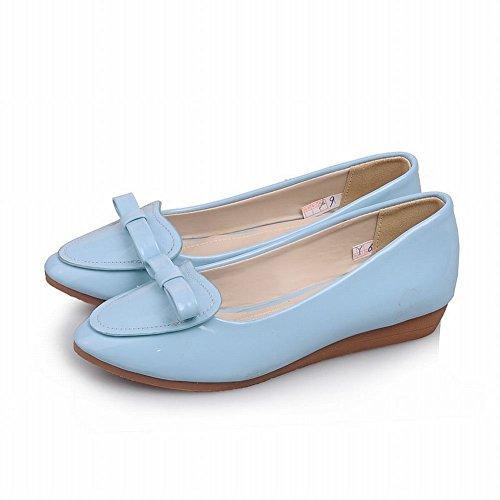 Latasa Damesmode Schattige Strik Ronde Teen Loafer Flats Schoenen Blauw