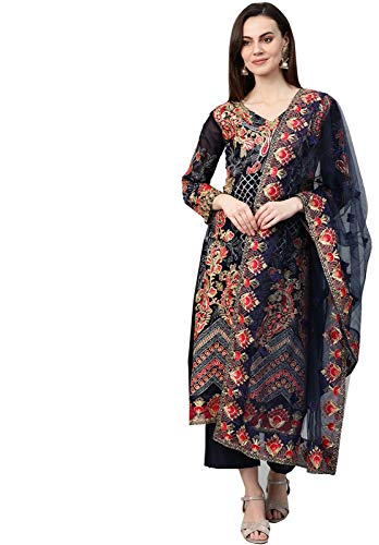 Ishin Women's Poly Georgette Navy Blue Embroidered Unstitched Salwar Suit Dress Material With Dupatta