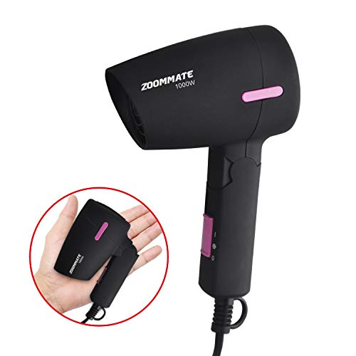 ZOOMMATE Mini Travel Hair Dryer 1000W Folding Handle Blow Dryer with Bag, Hot and Cool, 2 Speed Setting, Safety Protection (Matte Black)