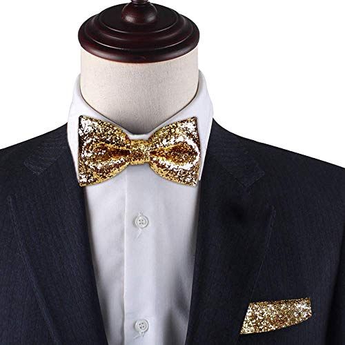 Gold Glitter pre-tied bow tie & Pocket Square set, Gold Glitter bow tie set for men, Dream Up Idea, 100% Handmade -