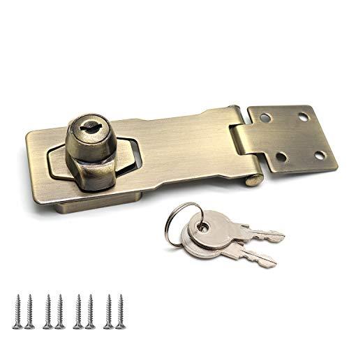 Rannb 4 Inch Vintage Screw Fixing Safety Guard Keyed Hasp Latches Keyed Hasp Lock Bronze ()