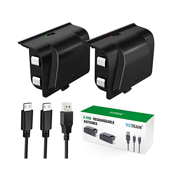 Battery Pack for Xbox One Controller, YCCTEAM 1200mAh Rechargeable Battery [2-Pack] for Xbox One/X/S/Xbox One Elite… 1
