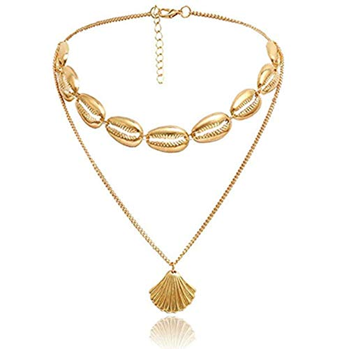 Yi Heng Ingemark Bohemia Alloy Shell Choker Collar Seashell Pendant Choker Necklace for Women Girls Accessories Statement Jewelry Gifts (Gold Ear Ring with Necklace)
