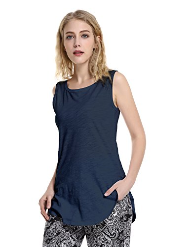 ZAN.STYLE Extra Long Tunic Tank Tops, Women Summer Cotton Tank Top Sleeveless Shirt,Casual Loose Athletic Workout Tank (Extra Long Work Shirt)