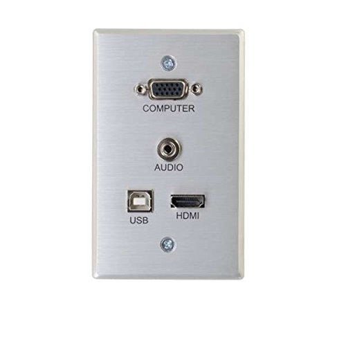 C2G 60171 RapidRun 4K UHD HDMI, VGA + 3.5mm Stereo Audio, USB-B Pass Through Single Gang Wall Plate, Aluminum