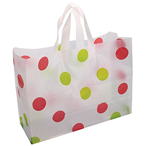 Frosted Plastic Polka Dot Bags Shopping Gift Goodies 16x6x12 Merchandise Store Green/Red Pack of 250 NEW by Bentley's Display