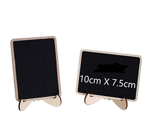 E-Conoro Mini Chalkboard (Pack of 10) with Support Easel, 2 Chalkboard Markers and Cleaning Cloth for Wedding Party Table Numbers Place Card Favor Tag Plant Decorative Sign food labels for party