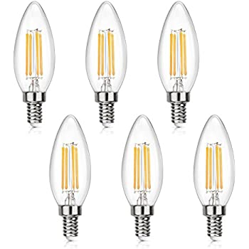 SHINE HAI Candelabra LED Filament Bulbs 40W Equivalent, 2700K Warm ...