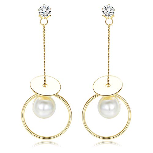 Dual Dangle - Stud Dangle Dual Pearl Earrings for Women Girls with Sparkling Cubic Zirconia Stud and Long Circle Disc Drop Pendant
