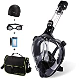 FinaTider Full Face Snorkel Mask,Advanced Safety Breathing System Allows You to Breathe More Fresh Air While Snorkeling,180 Panoramic Anti Fog Anti Leak Foldable Snorkel Mask for Adult and Kids