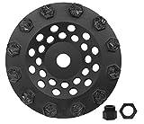 Split PCD Cup Wheel & 5/8''-11 Threaded Arbor - 12 Hexagonal Segments - 7'' Size - Dragon Tooling