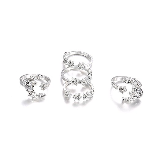 Wedding Rings for Women 5 Rings Set New Bohemian Vintage Women Alloy Star Moon Shape Finger Rings Punk Yamally (Silver)