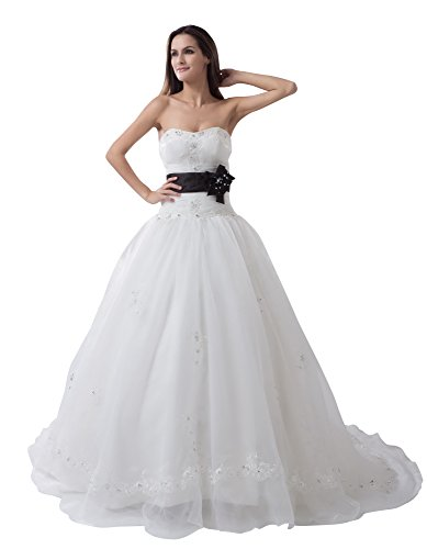 Vogue007 Womens Strapless Taffeta Satin Wedding Dress with Floral, White, 18 by Unknown
