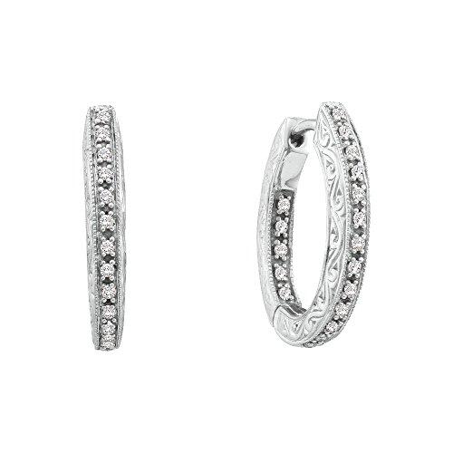 14K White Gold Diamond Inside Out Filigree Hoop Earrings 1/4 Ctw.