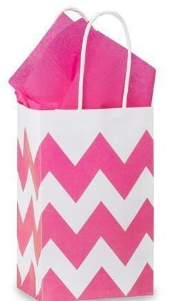 Hot Pink & White Chevron Small Shopper Gift Bags - (Paper Shopper Bag)