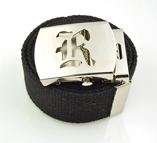 Canvas Belt Silver Buckle (Old English Initial