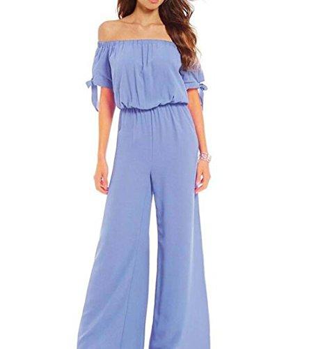 Les Femmes sans Bretelles Taille Fil de Neige Pantalons Pantalons Mode Poignets lis Corde Jumpsuit XIAOXAIO (Couleur : Bleu, Taille : XL)