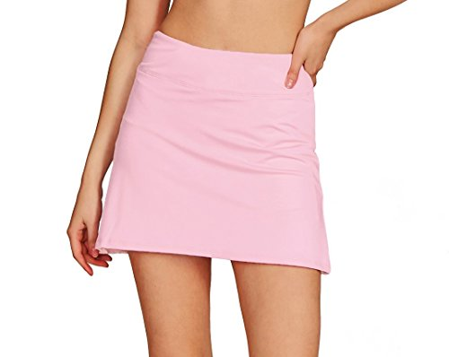Cityoung Women's Casual Pleated Golf Skirt with Underneath Shorts Running Skorts XS Light pink1