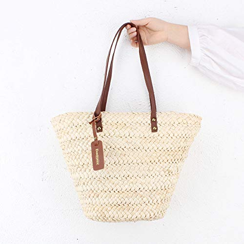 JAY-LONG Natural Corn Husk Woven Totes, Women's One-Shoulder Top-Handle Bags, Holiday Beach Casual Crossbody Bag, Built-in Phone Pocket ID Bag, 2842Cm