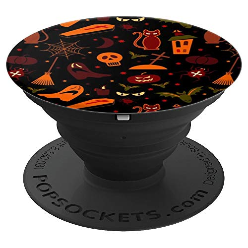 Halloween Horror Pattern Scary Cat Jack Lantern Wallpaper PopSockets Grip and Stand for Phones and Tablets