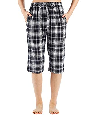 WEWINK CUKOO Cotton Women Pajama Capri Pants Plaid Lounge Pants with Pockets Sleepwear