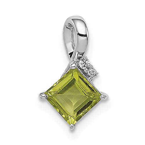 - 925 Sterling Silver Diamond Green Peridot Square Pendant Charm Necklace Gemstone Fine Jewelry Gifts For Women For Her
