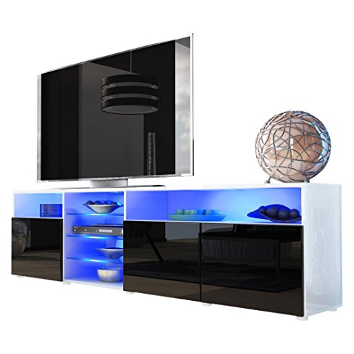 Meble Furniture & Rugs TV Stand Roma Matte Body High Gloss Doors Modern TV Stand LED (White/Black) (Modern Gloss High)