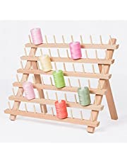 60-Spool Thread Holders, Wooden Thread Rack, Sewing Organizer with Hanging Hooks for Embroidery Quilting and Sewing Threads