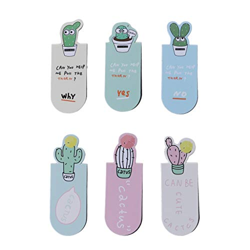 Qupida 3 Pcs/Set Cactus Cool Cute Magnetic Bookmarks Book Page Marker Student Office Stationery Office Supplies ()