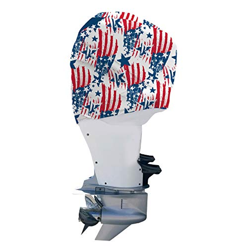 (OUTERENVY American Patriot Outboard Motor Engine Cover Custom Fit Always On Protection | Mercury 75-115 HP 4 Stroke (2015-Present))