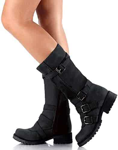 af0a49190c Athlefit Women s Foldable Ankle Boots Chunky Heel Mid Calf Boots