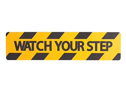 Non-Slip Yellow Watch Your Step Tape Adhesive, 80 Grit, 12'' x 24'' by Slip Guard (Image #1)