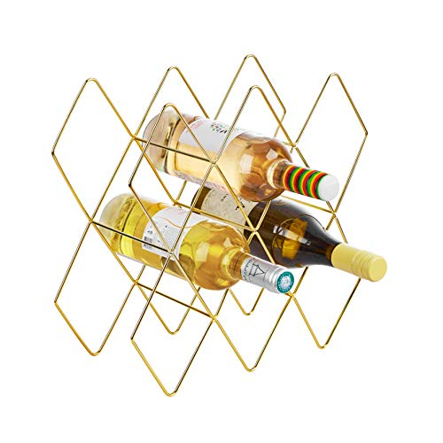Fxin Gold Wine Rack,Wire Wine Rack,Gold Wine Rack Freestanding,Gold Wine Rack Shelf,Wine Rack Brass,Wine Racks Countertop,8 bottle Wine Holder,Wine Bottle Holder Gold,Perfect for Bar Wine Cellar Basem