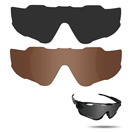 Fiskr Anti-saltwater Polarized Replacement Lenses for Oakley Jawbreaker Sunglasses 2 Pairs Packed (Stealth Black & Bronze Brown) (Sunglasses Replacement Lenses Bronze Mirror)