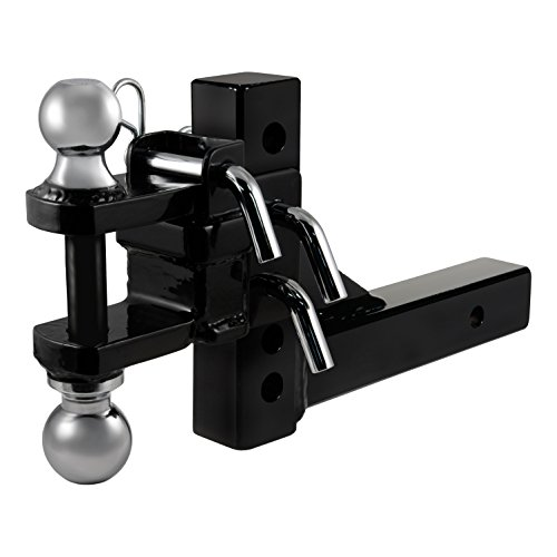 CURT 45049 Adjustable Trailer Hitch Ball Mount Black Fits Receiver, 6-1/2-Inch Drop, 6-11/16-Inch Rise, 2-Inch and 2-5/16-Inch