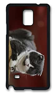 MOKSHOP Adorable Cat Snooze Hard Case Protective Shell Cell Phone Cover For Samsung Galaxy Note 4 - PCB