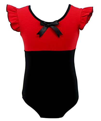 Happy Cherry Children Girls' Puff Sleeve Leotard Dance Gymnastics Sports Unitard Dancing Costumes Red Size 130 (Red Tags Cherry)