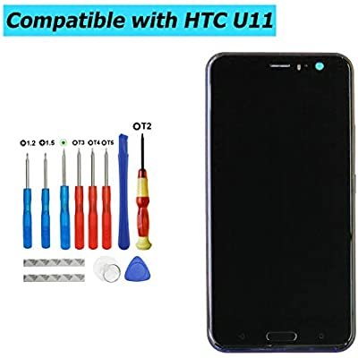 Upplus Replacement LCD Display Compatible for HTC U11 5 5 Inch Replacement Repair Display LCD Touch Screen Digitizer Assembly Glass with Frame with Toolkit  Blue