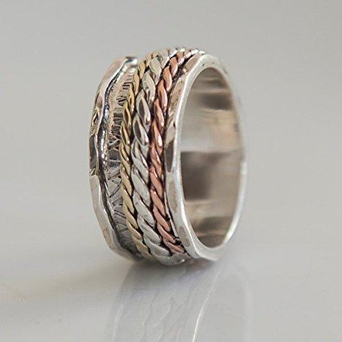 (Spinner Ring - Meditation Ring - Anti Stress Ring - Three Metal Rings - Multi Metal Ring - Mixed Metal Ring - Unisex Ring - Yoga Ring - Ring Size US9.25 )