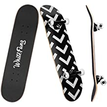 WhiteFang Skateboard 31 x 7.88 Skateboard Complete, 7 Layer Canadian Maple Double Kick Concave Standard and Tricks Skateboards for Beginners and Pro