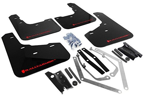 (Rally Armor MF29-UR-BLK/RD Black, Red Mud Flap with Logo (13+ Ford Fiesta ST))