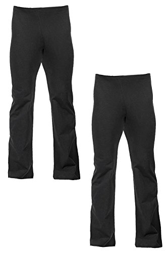 Fitwear USA Men's Basic Dance Pant With Elastic Waist (X-Large, 2 Pack Black) - Mens Jazz Pants