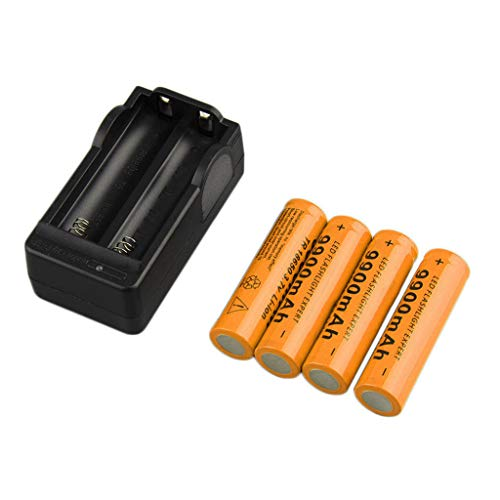 Fdrone 4X 18650 3.7V 9900mAh Li-ion Rechargeable Battery Smart Charger Indicator US External Backup Large High Capacity Black