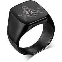 Stainless Steel Polished Men's Freemason Masonic Symbol Signet Rings Bands, Black/Silver