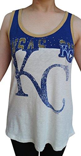 Women's Kansas Jayhawks Vintage Casual Shirts Rhinestone Tops - White (Size: XXL)