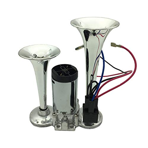 8Eninine One-Piece Car Air Horn Set Dual Trumpet Vehicle Horn Kit With Compressor Pump Silver