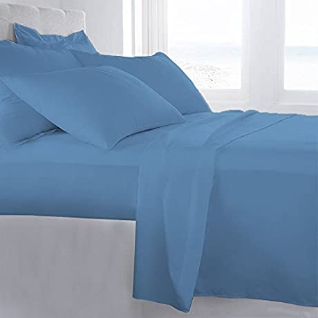 Lussona Collection 1000 Thread Count 300 GSM 100 Egyptian Cotton Quality 5 Piece Comforter Includes 1 PC Comfoter 4 PCs Sheet Set 15 Deep Pocket Full Sky Blue