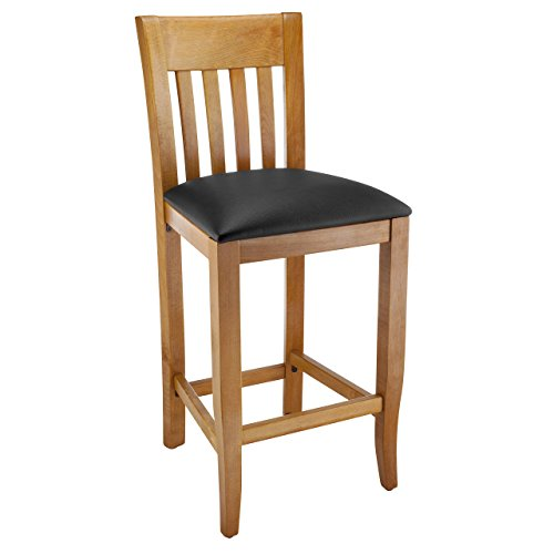 Beechwood Mountain BSD-34BU24-C Solid Beech Wood Counter Stool with Upholstered Seat in Cherry for Kitchen & (Beech Stool)
