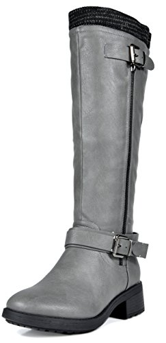 DREAM PAIRS Women's Turtle Grey Knee High Motorcycle Riding Winter Boots Size 9.5 M US